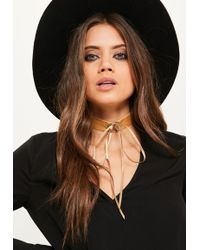 Missguided - Brown Lace Up Metal Trim Choker Necklace - Lyst