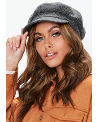 Missguided - Grey Tweed Baker Boy Hat - Lyst