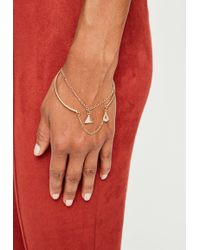 Missguided - Peace + Love Gold Double Layer Bangle - Lyst