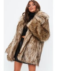 Missguided - Brown Faux Fur Collared Coat - Lyst