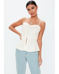 Missguided - Cream Button Front Tux Cami Top - Lyst