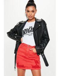 Missguided - Red Superstretch Distressed Denim Mini Skirt - Lyst