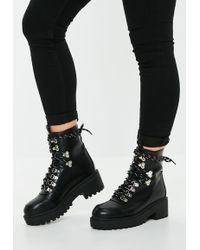 Missguided - Black White Contrast Lace Hiking Boots - Lyst