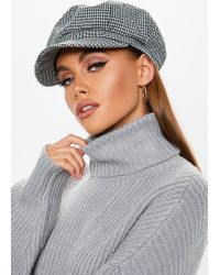 Missguided - Black Checked Baker Boy Hat - Lyst