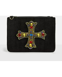 Missguided - Black Velvet Jewelled Gothic Cross Clutch Bag - Lyst