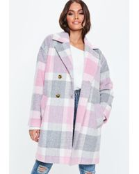 Missguided - Pink Check Print Cocoon Coat - Lyst