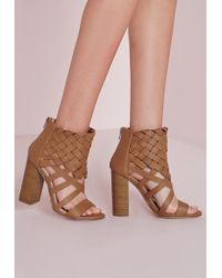 Missguided - Woven Ankle Cuff Heeled Sandals Tan - Lyst