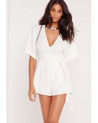 Missguided - Belt Kimono Style Romper White - Lyst