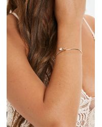 Missguided - Gold Look Diamante Fine Bangle - Lyst