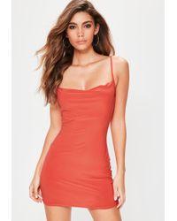 Missguided - Petite Orange Slinky Cowl Neck Mini Dress - Lyst