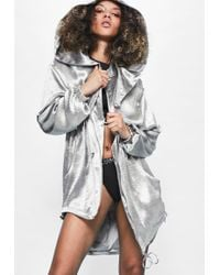 Missguided - Londunn + Silver Hammered Satin Duster Jacket - Lyst