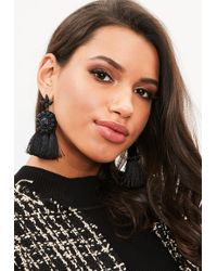 Missguided - Black Large Tassel Earrings - Lyst