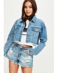 Missguided - Blue Cropped Ripped Denim Jacket - Lyst