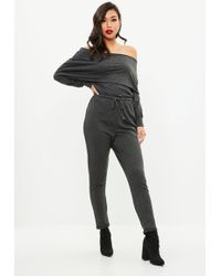 Missguided   Grey Bardot Casual Jumpsuit   Lyst