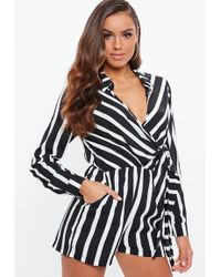 d48f95898a Missguided Wrap Front Shirt Playsuit Nude in Natural - Lyst