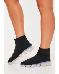 Missguided - Black Clear Sole Sock Trainers - Lyst