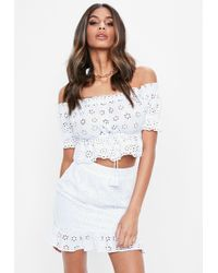 Missguided - White Broderie Wrap Frill Mini Skirt - Lyst