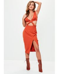 Missguided - Orange Plunge Cut Out Midi Dress - Lyst