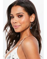 Missguided - Silver Circle Drop Earrings - Lyst