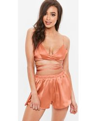 Missguided - Orange Wrap Around Satin Bralette Short Pyjama Set - Lyst