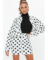029a9c0cd818 Missguided - White Denim Polka Dot Frill Hem Co-ord Jacket - Lyst