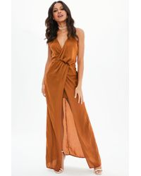 Missguided - Rust Satin Front Split Wrap Maxi Dress - Lyst