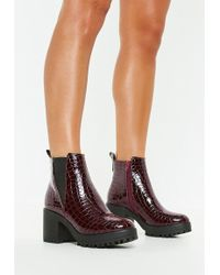Missguided - Burgundy Croc Chunky Chelsea Ankle Boots - Lyst