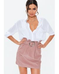 05b066230f Lyst - Missguided Blush Stripe Cropped Oversized Co Ord Denim Skirt