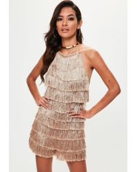 Missguided | Nude High Neck Fringe Romper | Lyst