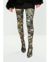 Missguided - Khaki Leaf Printed Thigh High Pointed Shoes - Lyst