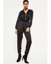 Missguided - Black Heavy Satin Hooded Jumpsuit - Lyst