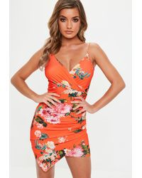 17d996dea9 Missguided Pink Slinky Wrap Strappy Plunge Bodycon Dress in Pink - Lyst