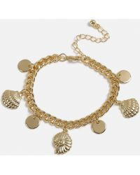 Missguided - Gold Look Shell Charm Bracelet - Lyst