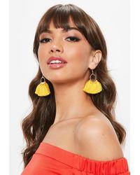 Missguided - Yellow Hoop Fan Tassel Earrings - Lyst