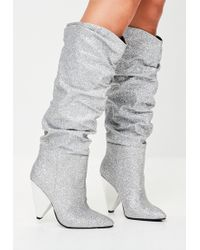 Missguided - Silver Ruched Calf Boots - Lyst