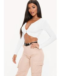 70e4370026c1d Lyst - Missguided Lace Long Sleeve Crop Top White in White