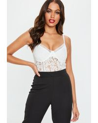 Missguided - White Lace Sports Trim Bralet - Lyst