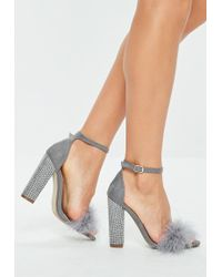 Missguided - Grey Feather Strap Glitter Block Heels - Lyst