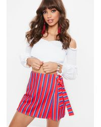 Missguided - Red Stripe Print Tie Wrap Skort - Lyst