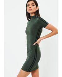 Missguided - Carli Bybel X Khaki Stripe Slinky Dress - Lyst