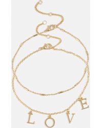Missguided - Gold Double Layer Love Anklet - Lyst