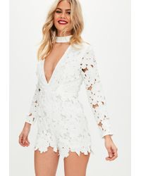 Missguided - Petite White Choker Applique Romper - Lyst