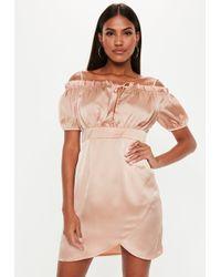 f57169c793 Missguided - Tall Champagne Satin Bardot Milkmaid Dress - Lyst