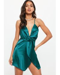 Missguided - Teal Satin Strappy Wrap Shift Dress - Lyst
