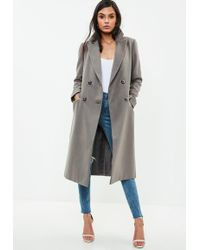 Missguided - Grey Long Faux Wool Military Coat - Lyst