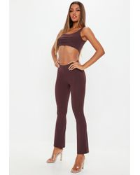 Missguided - Wine Flared Trousers And Bralet Co Ord - Lyst