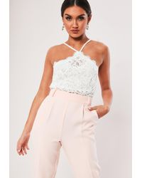 Missguided - White Cornelli Lace Halterneck Crop Top - Lyst