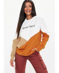 Missguided - White Rodeo Drive Slogan Colour Block Sweatshirt - Lyst