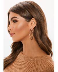 Missguided - Gold Look Double Hoop Drop Earrings - Lyst