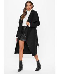 991e018abddaa Missguided Waterfall Long Length Coat Camel in Natural - Lyst